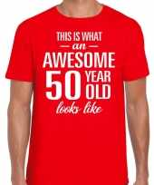 Awesome 50 year 50 jaar cadeau t-shirt rood heren trend