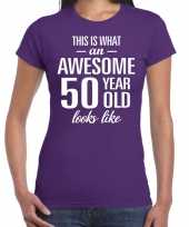 Awesome 50 year sarah cadeau t-shirt paars dames trend