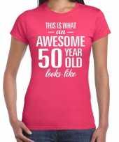 Awesome 50 year sarah cadeau t-shirt roze dames trend