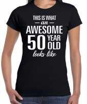 Awesome 50 year sarah cadeau t-shirt zwart dames trend