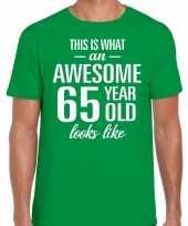 Awesome 65 year 65 jaar cadeau t-shirt groen heren trend