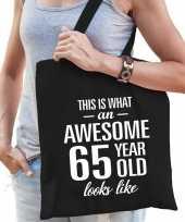 Awesome 65 year geweldig 65 jaar cadeau tas zwart voor dames trend