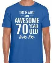 Awesome 70 year 70 jaar cadeau t-shirt blauw heren trend