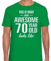 Awesome 70 year 70 jaar cadeau t-shirt groen heren trend