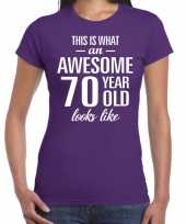 Awesome 70 year 70 jaar cadeau t-shirt paars dames trend
