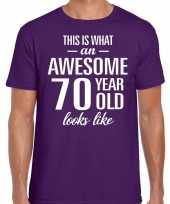 Awesome 70 year 70 jaar cadeau t-shirt paars heren trend