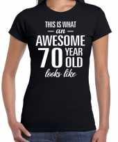 Awesome 70 year 70 jaar cadeau t-shirt zwart dames trend