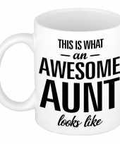 Awesome aunt tante cadeau mok beker 300 ml trend
