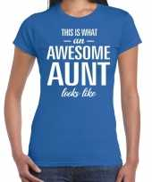 Awesome aunt tante cadeau t-shirt blauw dames trend