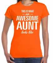 Awesome aunt tante cadeau t-shirt oranje dames trend