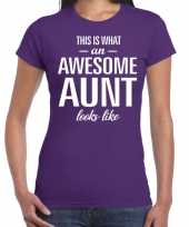 Awesome aunt tante cadeau t-shirt paars dames trend