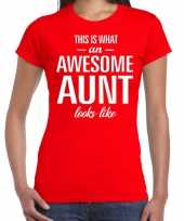 Awesome aunt tante cadeau t-shirt rood dames trend