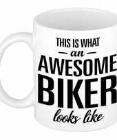 Awesome biker cadeau mok beker 300 ml trend