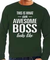 Awesome boss baas cadeau sweater groen heren trend