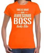 Awesome boss tekst t-shirt oranje dames trend
