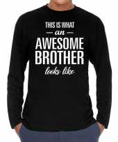 Awesome brother broer cadeau t-shirt long sleeves heren trend