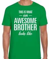 Awesome brother tekst t-shirt groen heren trend