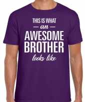 Awesome brother tekst t-shirt paars heren trend