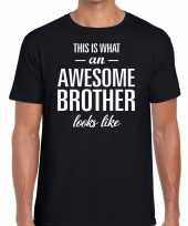 Awesome brother tekst t-shirt zwart heren trend