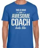 Awesome coach cadeau t-shirt blauw heren trend