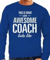 Awesome coach trainer cadeau sweater blauw heren trend