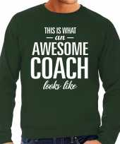 Awesome coach trainer cadeau sweater groen heren trend