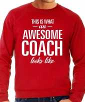 Awesome coach trainer cadeau sweater rood heren trend