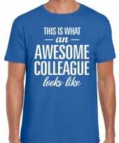 Awesome colleague tekst t-shirt blauw heren trend
