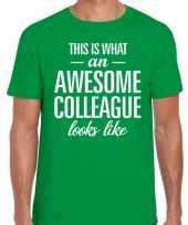 Awesome colleague tekst t-shirt groen heren trend