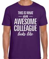 Awesome colleague tekst t-shirt paars heren trend