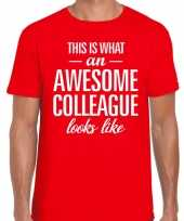 Awesome colleague tekst t-shirt rood heren trend