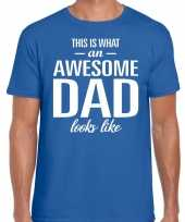 Awesome dad cadeau t-shirt blauw heren vaderdag cadeau trend