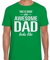 Awesome dad cadeau t-shirt groen heren vaderdag cadeau trend