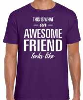 Awesome friend cadeau t-shirt paars heren trend
