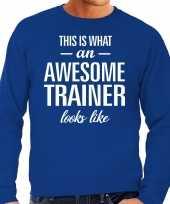 Awesome geweldige trainer cadeau sweater blauw heren trend