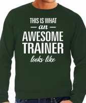 Awesome geweldige trainer cadeau sweater groen heren trend