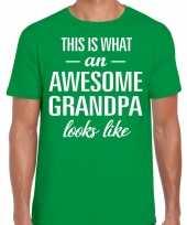 Awesome grandpa opa cadeau t-shirt groen heren vaderdag trend