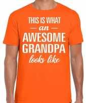 Awesome grandpa opa cadeau t-shirt oranje heren vaderdag trend
