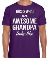 Awesome grandpa opa cadeau t-shirt paars heren vaderdag trend