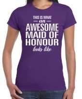 Awesome maid of honour getuige cadeau t-shirt paars dames trend