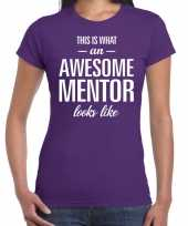 Awesome mentor cadeau t-shirt paars voor dames trend