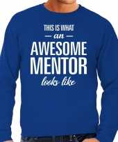 Awesome mentor leermeester cadeau sweater blauw heren trend
