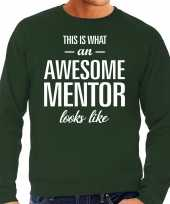 Awesome mentor leermeester cadeau sweater groen heren trend
