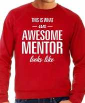 Awesome mentor leermeester cadeau sweater rood heren trend