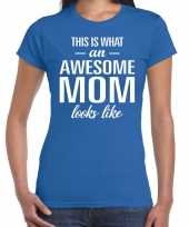 Awesome mom tekst t-shirt blauw dames trend