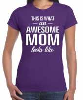 Awesome mom tekst t-shirt paars dames trend