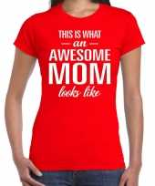 Awesome mom tekst t-shirt rood dames trend