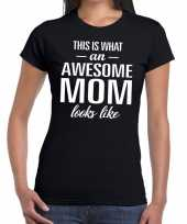 Awesome mom tekst t-shirt zwart dames trend