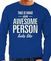 Awesome person persoon cadeau sweater blauw heren trend