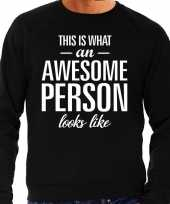 Awesome person persoon cadeau sweater zwart heren trend